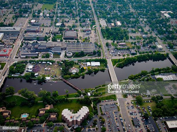 common ground festival aerial view - lansing stock pictures, royalty-free photos & images