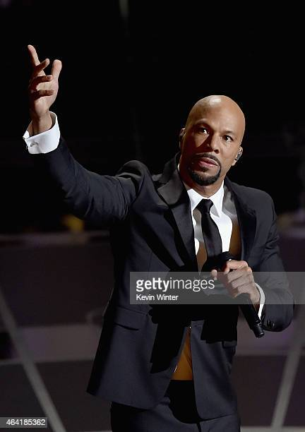 Common performs Glory from Selma onstage during the 87th Annual Academy Awards at Dolby Theatre on February 22 2015 in Hollywood California