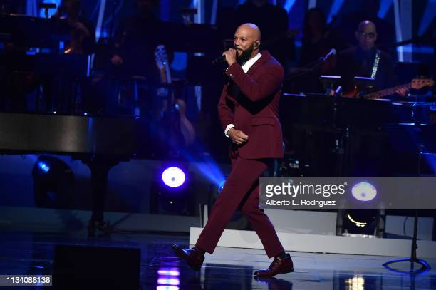 Common performs onstage at AllStar Lineup Pays Tribute At Aretha A GRAMMYCelebration For The Queen Of Soul at The Shrine Auditorium on January 13...