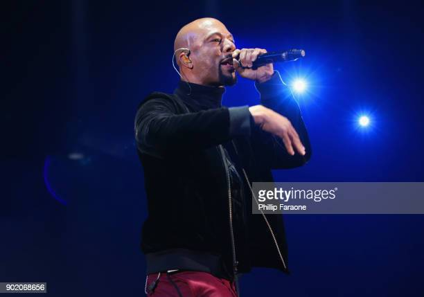 Common performs onstage during The Art Of Elysium's 11th Annual Celebration with John Legend at Barker Hangar on January 6 2018 in Santa Monica...