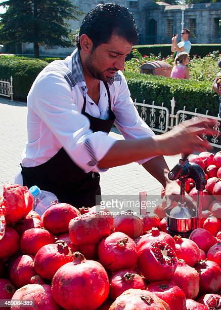 Common sight in towns of Turkey is the Pomegranate juice vendor.