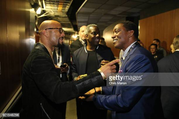 Common talks with Isiah Thomas during the NBA AllStar Game as a part of 2018 NBA AllStar Weekend at STAPLES Center on February 18 2018 in Los Angeles...