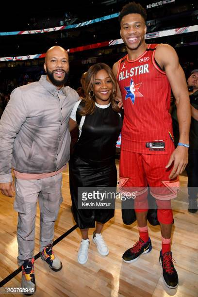 Common Tiffany Haddish and Giannis Antetokounmpo attend the 69th NBA AllStar Game at United Center on February 16 2020 in Chicago Illinois