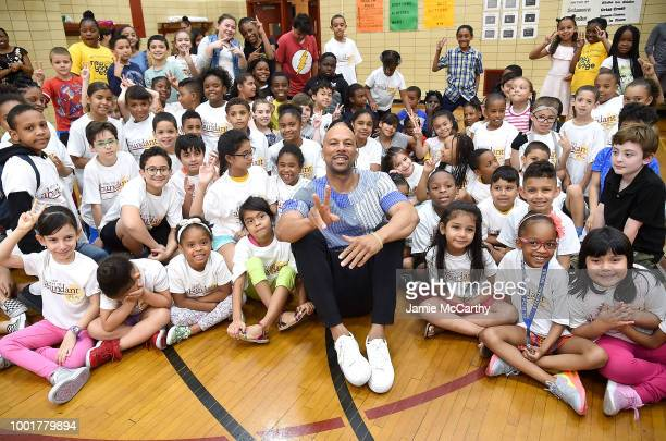 Common and his mother Dr Mahalia Hines visit NYC elementary school for BackToSchool fundraising with Burlington Stores and AdoptAClassroomorg on July...
