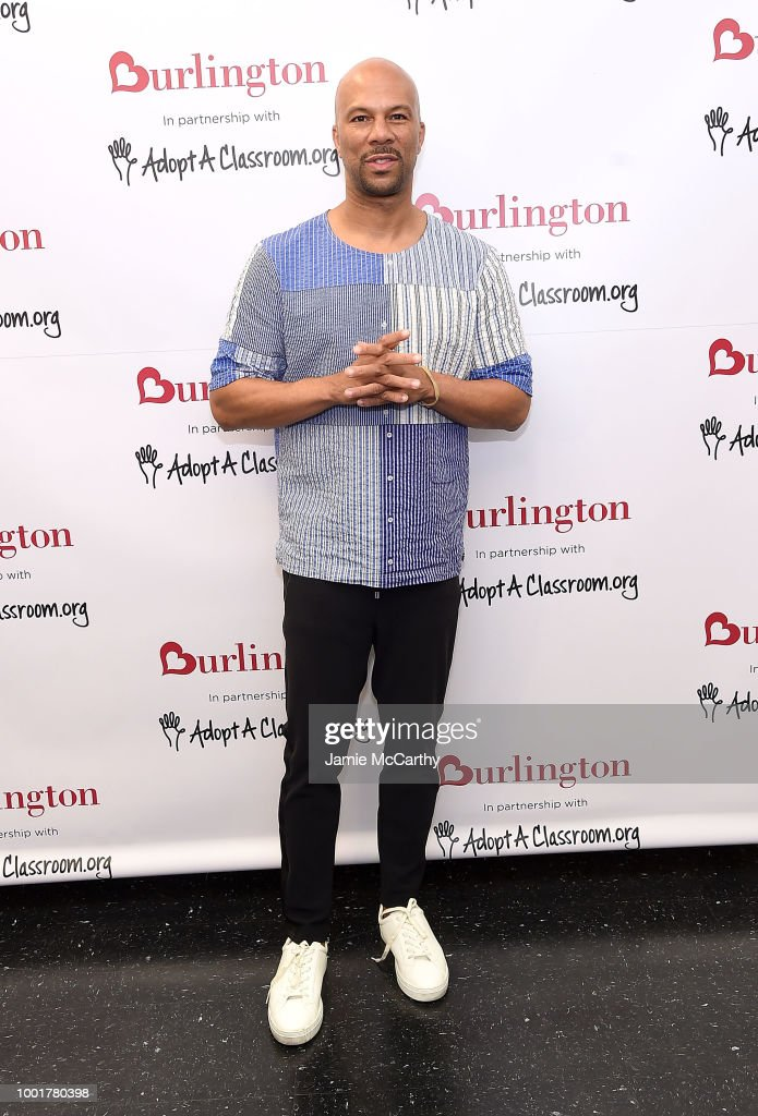 Common visits NYC elementary school for Back-To-School fundraising with Burlington Stores and AdoptAClassroom.org on July 19, 2018 in New York City.