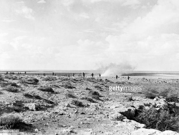 Commonwealth and Allied forces progress in October 1942 in the desert of Tobruk seaport in Darnah province in the northern Libya during the offensive...