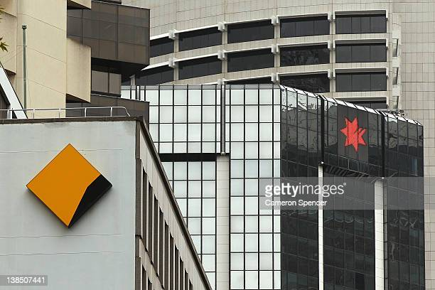 Commonwealth bank and National Australia Bank signage is seen on February 8 2012 in Sydney Australia The Reserve Bank of Australia yesterday passed...