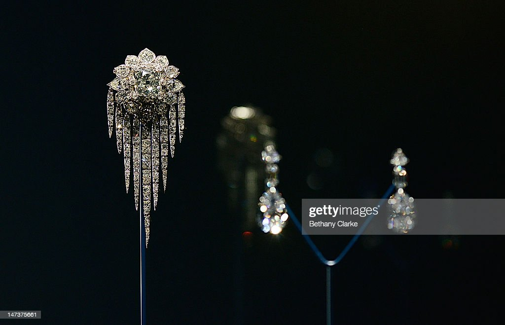 A Commonwealth Broach on display in the Diamonds: A Jubilee Celebration exhibition which forms part of the summer opening of Buckingham Palace on June 28, 2012 in London, England. 10,000 diamonds set in works acquired by six monarchs over three centuries go on display to mark Queen Elizabeth II's 60 year reign. With many items from the Queen's personal collection joining those chosen for their artistic significance and historical importance from the Royal Collection. The exhibition opens on Saturday and runs til 8th July and then again from July 31 to October 7.