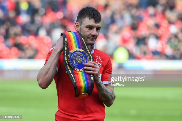 Commonwealth Featherweight Boxing Champion and Forest supporter Leigh Wood with his belt during the Sky Bet Championship match between Nottingham...