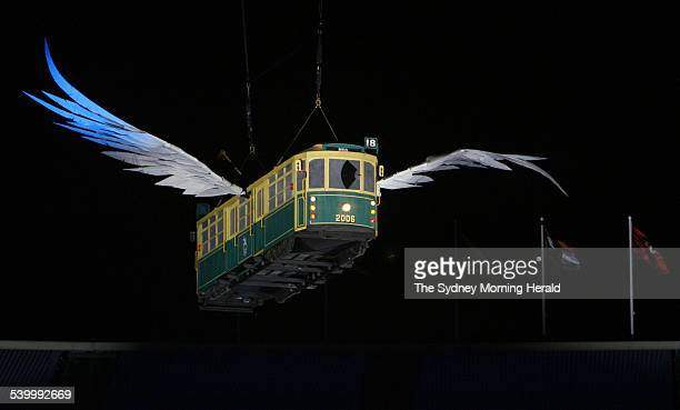 Commonwealth Games 2006 A winged tram flies through the air at the Opening Ceremony at the Melbourne Cricket Ground 15 March 2006 SMH Picture by...