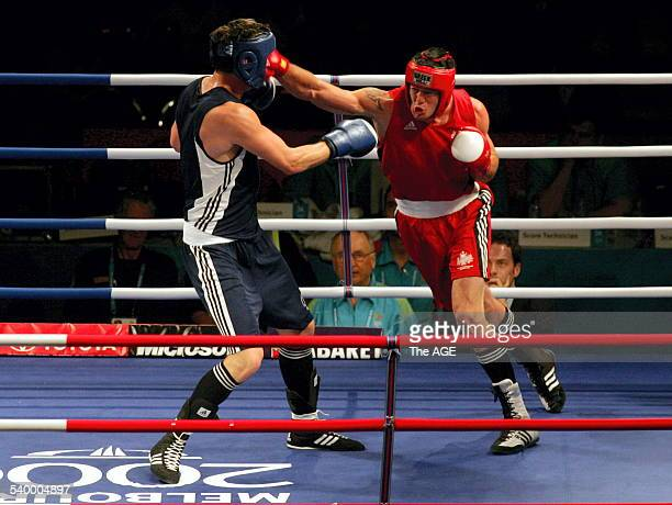 Commonwealth Games 2006. Boxing. Heavy Weight, Preliminary round, won by Australian Bradley Pitt in red vs Daniel Price of England. THE AGE NEWS...