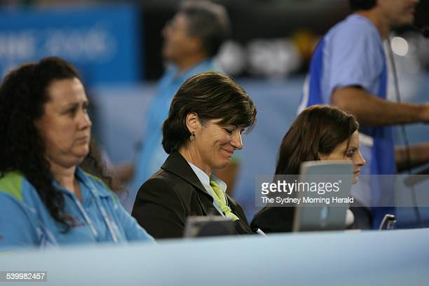 Commonwealth Games 2006 Chief Floor Judge Avril Onslow right of New Zealand during the Women's AllAround Gymnastics final at the Rod Laver Arena...