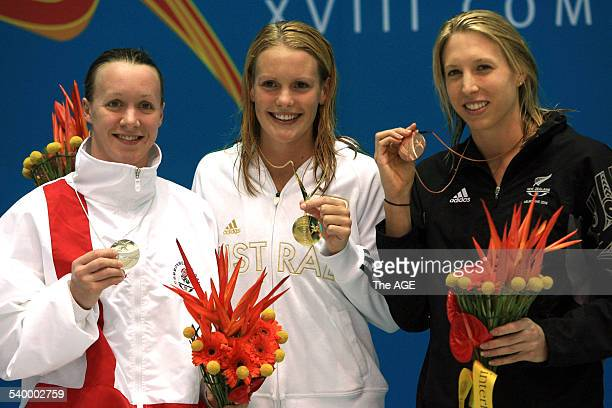 Commonwealth Games 2006 England's Melanie Marshall Australia's Joanna Fargus and New Zealand's Hannah McLean on the podium after the women's 200m...