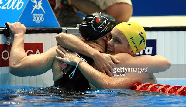 Commonwealth Games 2006 England's Melanie Marshall embraces Australia's Joanna Fargus in the pool after the women's 200m backstroke final at the 2006...