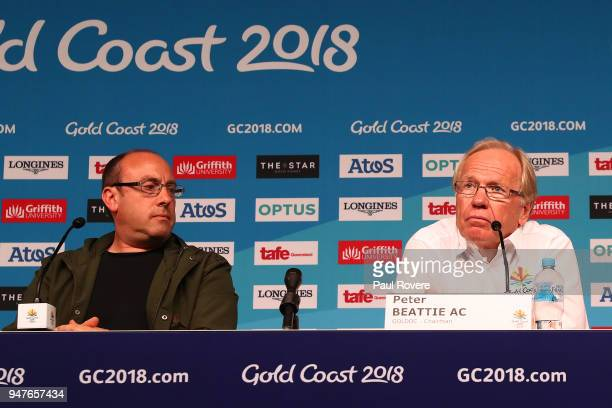 Commonwealth Games Artistic Director David Zolkwer and GOLDOC Chairman Peter Beattie are seen speaking at a media conference on day 11 of the Gold...