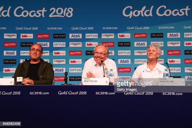 Commonwealth Games Artistic Director David Zolkwer Chairman Peter Beattie and Commonwealth Games Federation President Louise Martin are seen speaking...