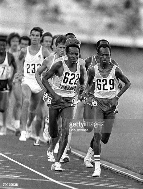 Commonwealth Games Athletics Brisbane Australia Mens 10000 metres Final Tanzania's Zachariah Barie and Gidemas Shahanga lead the race with Shahanga...