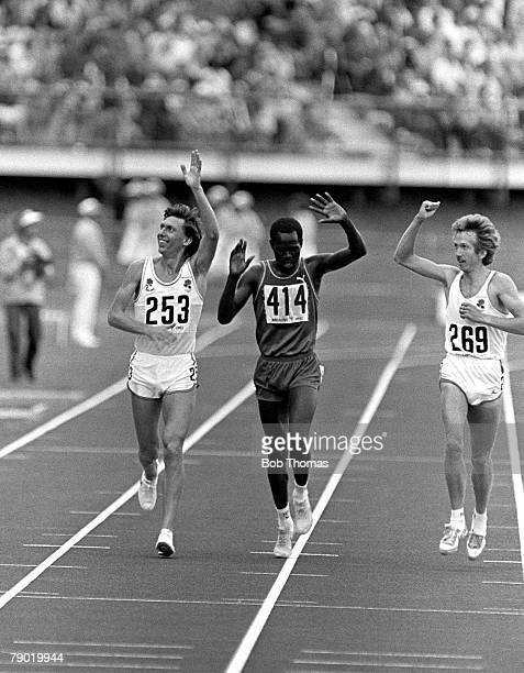 Commonwealth Games Athletics Brisbane Australia Mens 5000 metres Final The three medallists wave to the crowd after the race Left to right England's...