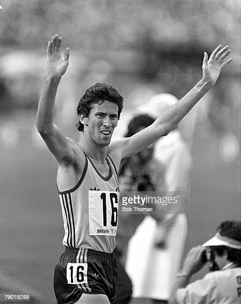 Commonwealth Games Athletics Brisbane Australia Mens 800 metres Final Australia's Peter Bourke celebrates after winning the race