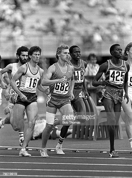 Commonwealth Games Athletics Brisbane Australia Mens 800 metres SemiFinal The leading pack are pictured during the race including Wales's Philip...