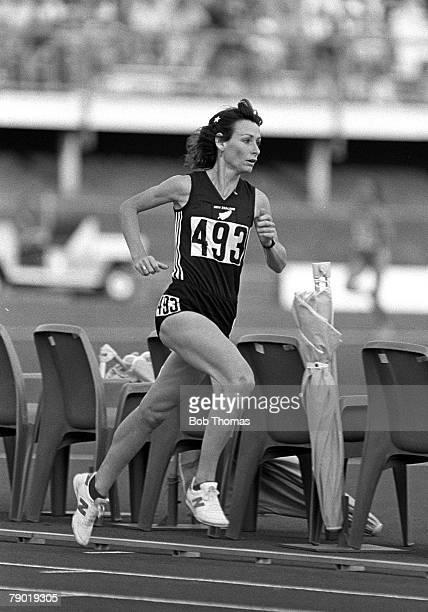 Commonwealth Games Athletics Brisbane Australia Womens 3000 metres Final New Zealand's Lorraine Moller on her way to winning a Bronze medal