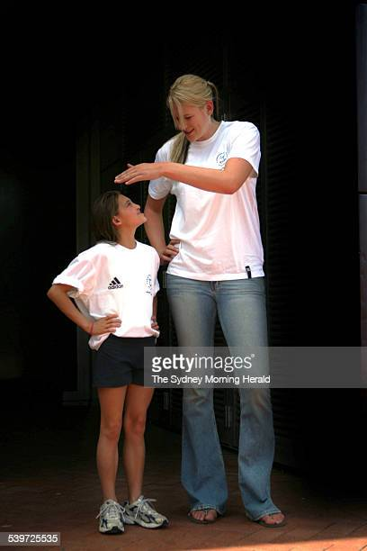 Commonwealth Games basketballer Lauren Jackson tallest woman on the team with the shortest diver Melissa Wu at the naming of the teams ceremony at...