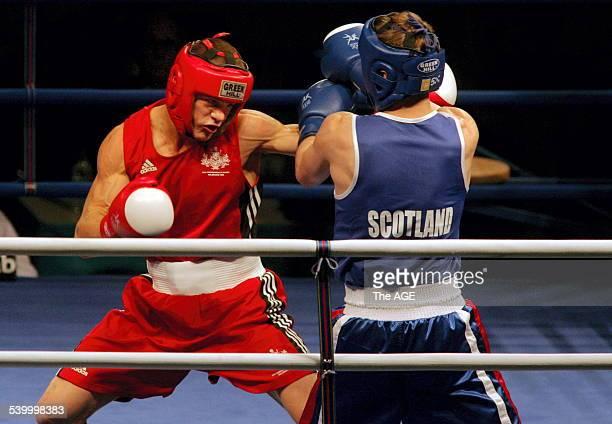 Commonwealth Games Melbourne 2006. Boxing at Melbourne Exhibition Centre. Middle-weight 75 kg, Australian, Jarrod Fletcher defeats Craig McEwan of...