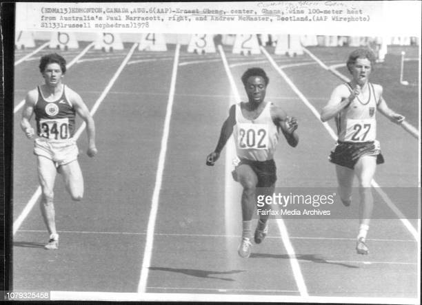 Commonwealth Games Team Ernest Obeng center Ghana wins 100meter heat from Australia's Paul Narracott right and Andrew McMaster Scotland August 06 1978