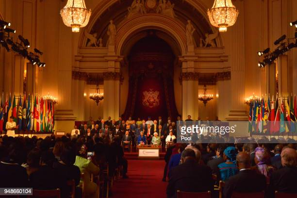 Commonwealth Heads of State during the formal opening of the Commonwealth Heads of Government Meeting in the Ballroom at Buckingham Palace on April...