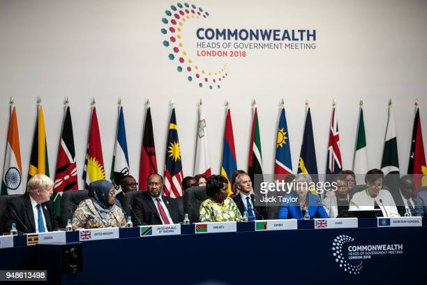 Commonwealth leaders attend the first executive session of the 'Commonwealth Heads of Government Meeting' at Lancaster House on April 19 2018 in...
