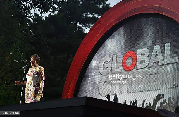 Commonwealth Secretary General Rt Hon Patricia Scotland QC speaks onstage at the 2016 Global Citizen Festival In Central Park To End Extreme Poverty...