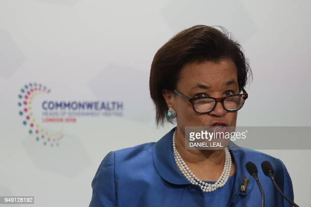 Commonwealth SecretaryGeneral Patricia Scotland addresses the closing press conference of the Commonwealth Heads of Government Meeting at Marlborough...