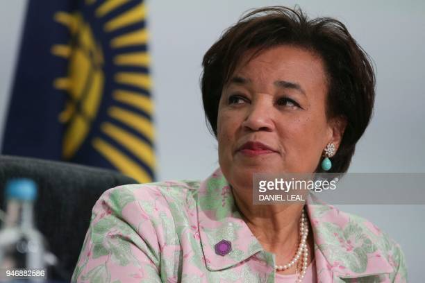 Commonwealth SecretaryGeneral Patricia Scotland gives a press conference on the opening day of the Commonwealth Heads of Government Meeting in London...
