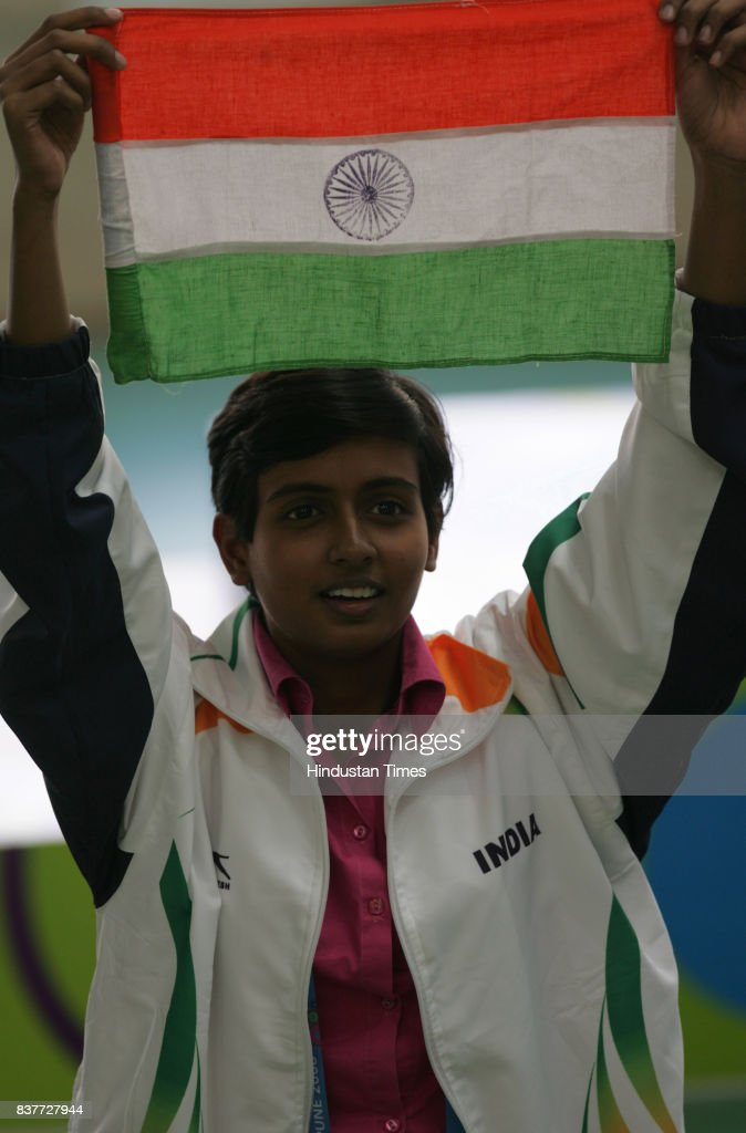10m Air Pistol Women Gold medalist winner Deepika Patel during the 3rd Commonwealth Youth Games 2008 in Pune on Wednesday.
