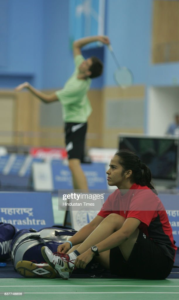 Badminton player Saina Nehwal practices at badminton court for commonwealth youth games 2008 in Pune on Saturday.