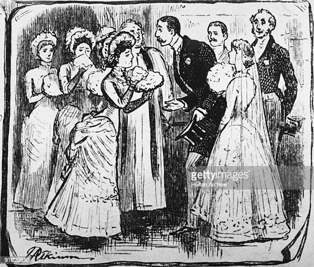 A commotion at a wedding 1883 The final cell of a cartoon entitled 'My Matrimonial Suit' drawn by J P Atkinson Original Publication Illustrated...