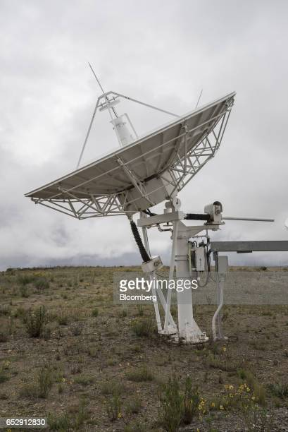 A communication antenna stands at the Bolivian Space Agency Amachuma Ground Station in Achocalla La Paz Department Bolivia on Wednesday March 1 2017...