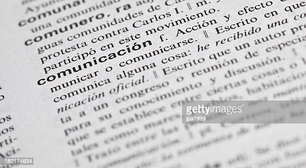 communication explained in spanish - single word stock pictures, royalty-free photos & images