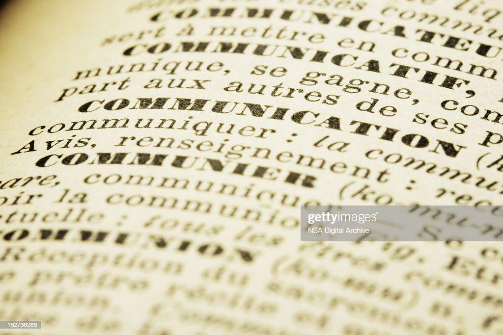 Communication | French Dictionary Macro : Stock Photo