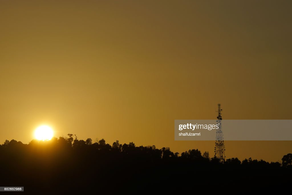 Communication repeater or  antenna tower in Ampang hills of Kuala Lumpur : Stock Photo