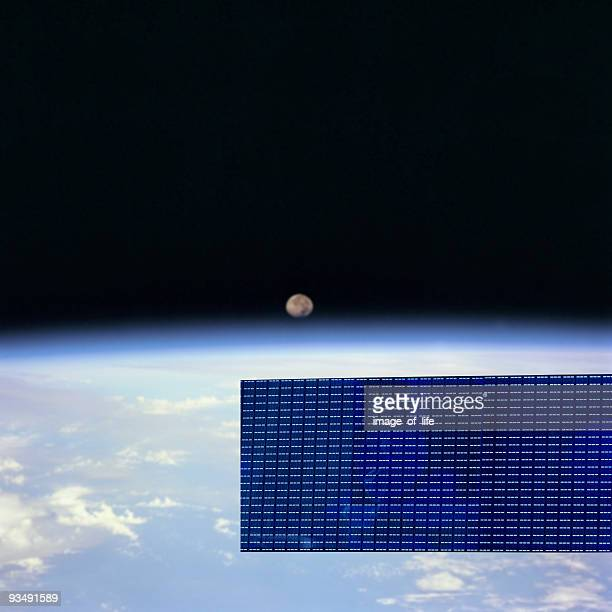 communication satellite on orbit - solar energy dish stock pictures, royalty-free photos & images