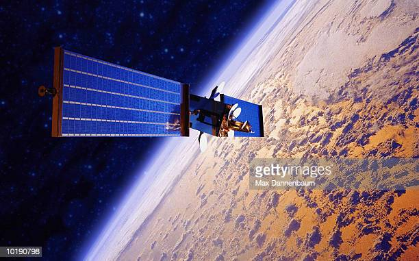 communication satellite orbiting planet (digital composite) - orbiting stock pictures, royalty-free photos & images