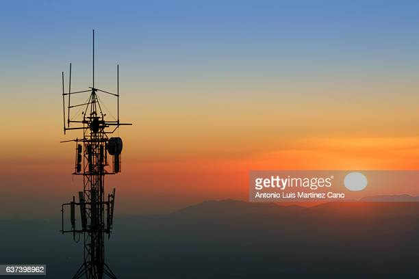 Communication tower at dusk