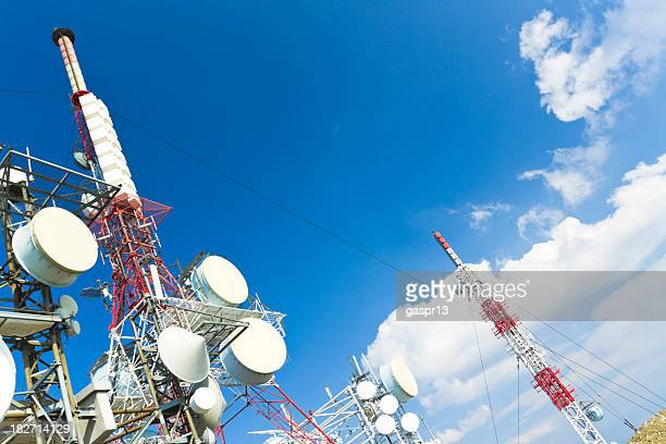 Communication towers stretching across the sky