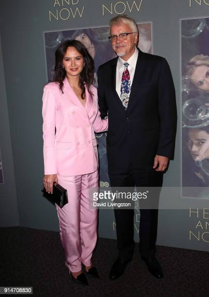Communications and Marketing Manager at The Actors' Gang Theater Gratiela Brancusi and actor Tim Robbins attend the premiere of HBO's 'Here and Now'...