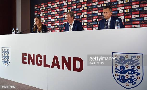 Communications Director at The Football Association Amanda Docherty England manager Roy Hodgson and the Football Association's CEO Martin Glenn...