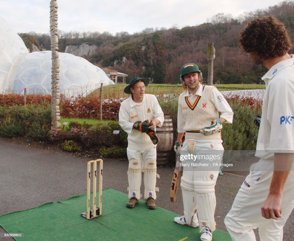 Communications officer Ben Foster (centre), the designer of the biodegradable cricket box, talks with bowler Charlie Shreck (right) as wicket keeper Chris Hines (left) looks on, following a product test for the World's first biodegradable cricket box, at the Eden Project, Cornwall.
