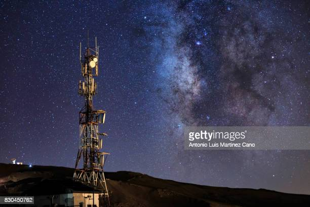 Communications tower and the Milky way