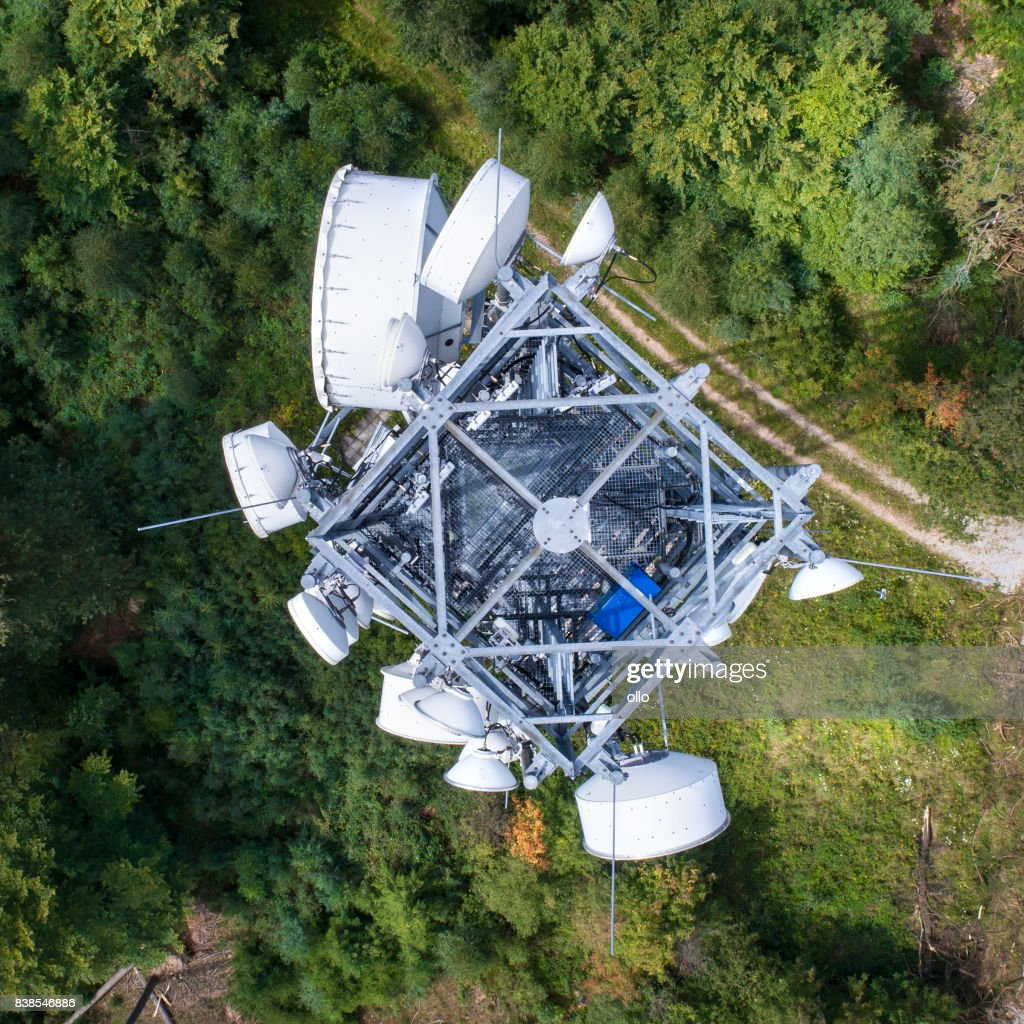 Communications tower - view from above : Stock Photo