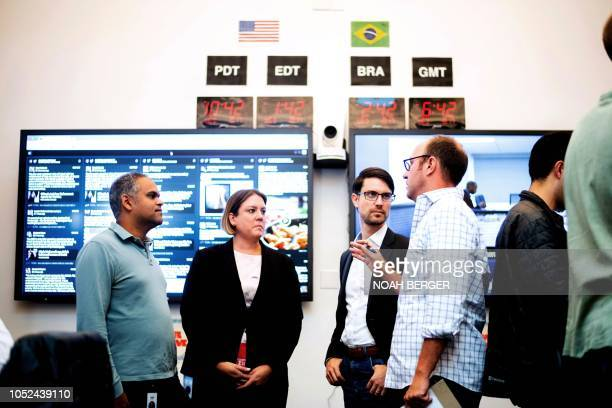 Communications worker Tom Reynolds, Global Politics and Government Outreach Director Katie Harbath, Head of Cybersecurity Policy Nathaniel Gleicher...